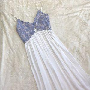 Tularosa Bryce Maxi Dress Light Blue and White